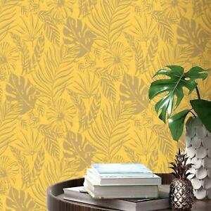 Portefeuille-Tropical-Feuille-Papier-Peint-Jaune-Dore-Rasch-215526-Neuf
