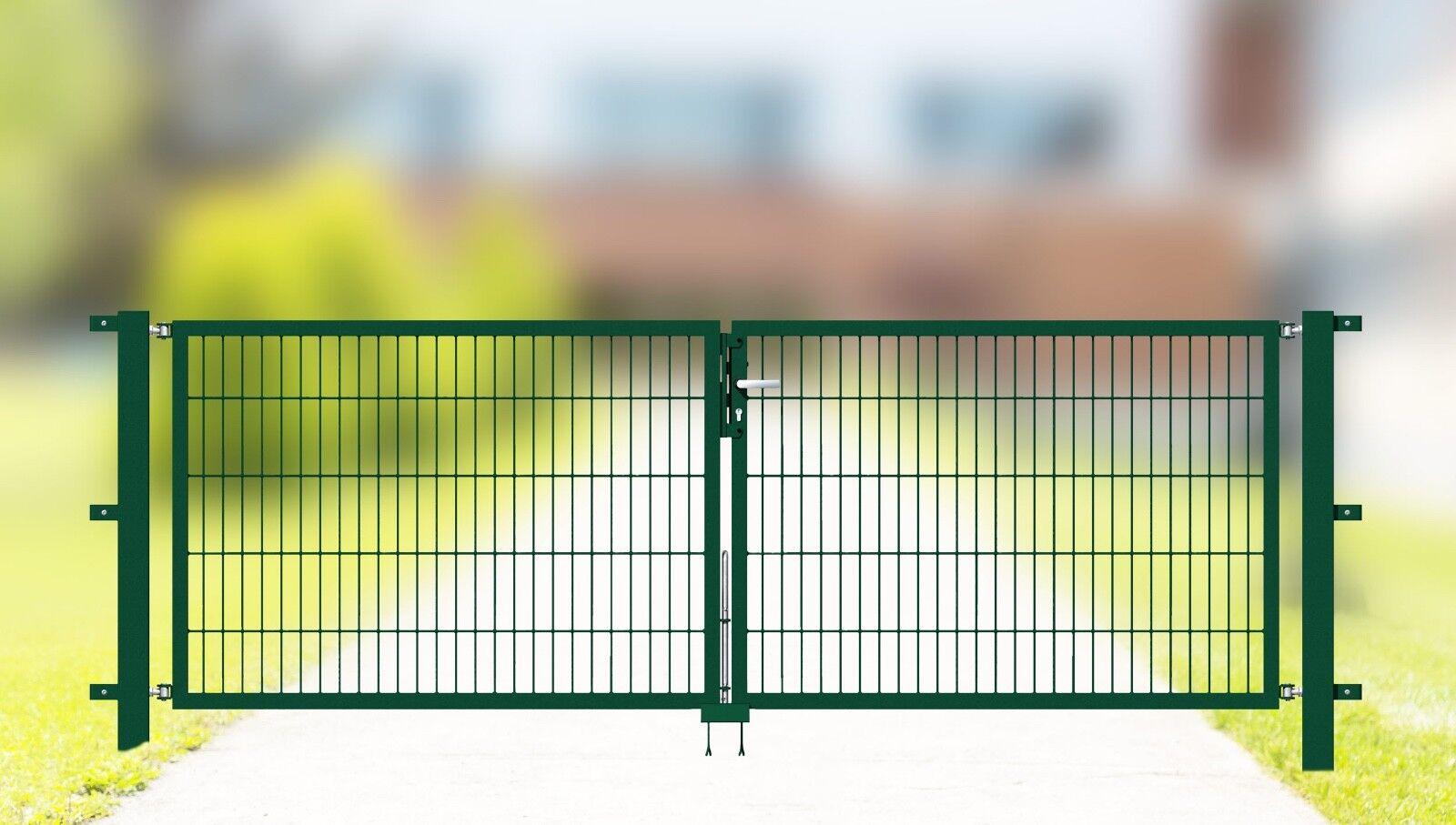 Gartentor Classic, 2-flüglig, grün, 1,0m hoch, 3m breit, Gittertür, Zauntor