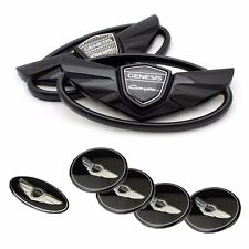 (Fits: Hyundai 2010-2015 Genesis Coupe) 3D Black 7pc Set Emblem Made in Korea