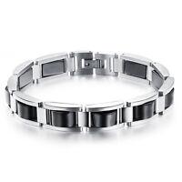 Edelstahl Hämatit Armband silber schwarz Damen Herren Schmuck Power Armreif A006