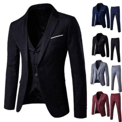 Men/'s Slim Formal Business Wedding Party Suit 3 Piece Jacket Vest and Pants US