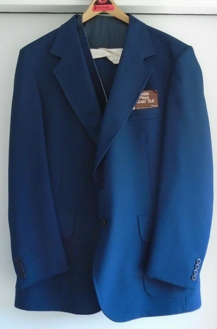 Vintage NOS J C Penney 4 Peice Navy QUAD Suit 44L