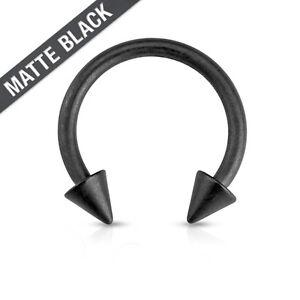 Matte Black Spike Surgical Steel Circular Barbell Septum Ring