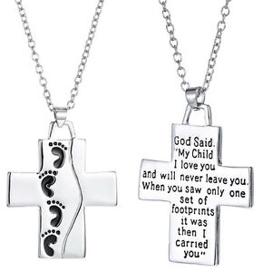 Silver cross pendant necklace footprints prayer christian jewelry image is loading silver cross pendant necklace footprints prayer christian jewelry aloadofball Image collections