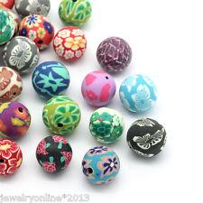 30 Mix Mehrfarbig Kugel Blumen Ton Perlen Beads Millefiori 14mm-15mm