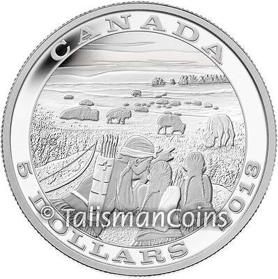Canada 2013 Native American Tradition of Hunting 2 Bison Buffalo $5 Silver Proof