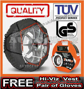 Details about Car Tyre TUV Approved 9mm Snow Chains 175/50 R13 + Hi-Viz  Vest,Gloves & Mat-A1