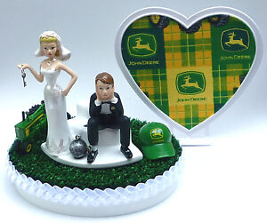 Wedding Cake Topper John Deere Themed Tractor Ball & Chain Farmer ...