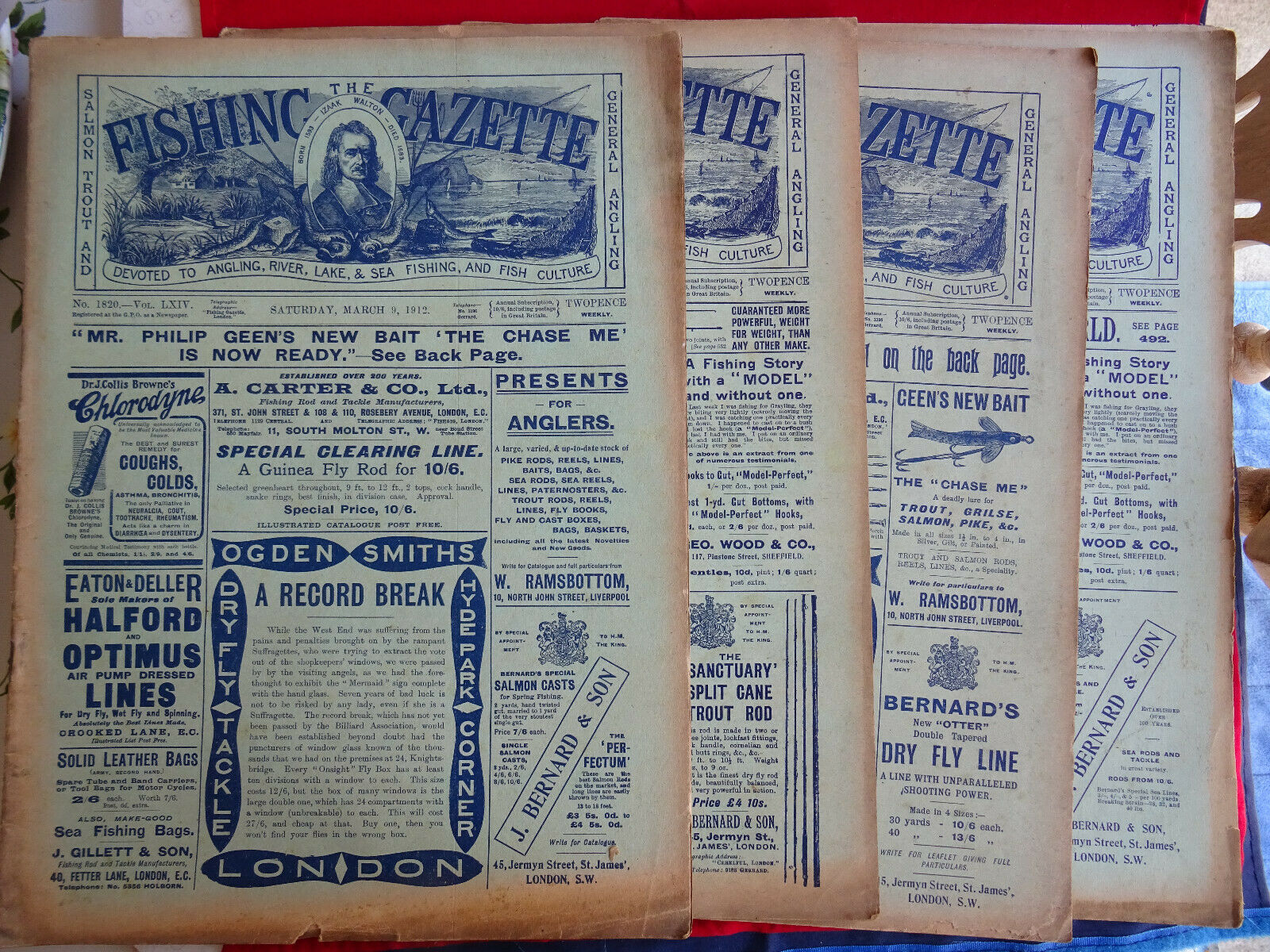 4X VINTAGE 1912 FISHING GAZETTE  NEWSPAPERS LOTS OF EARLY FISHING ADgreenS  cheap online