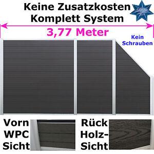 wpc alu sichtschutz terrasse gartenzaun windschutz zaun garten sichtschutzzaun. Black Bedroom Furniture Sets. Home Design Ideas