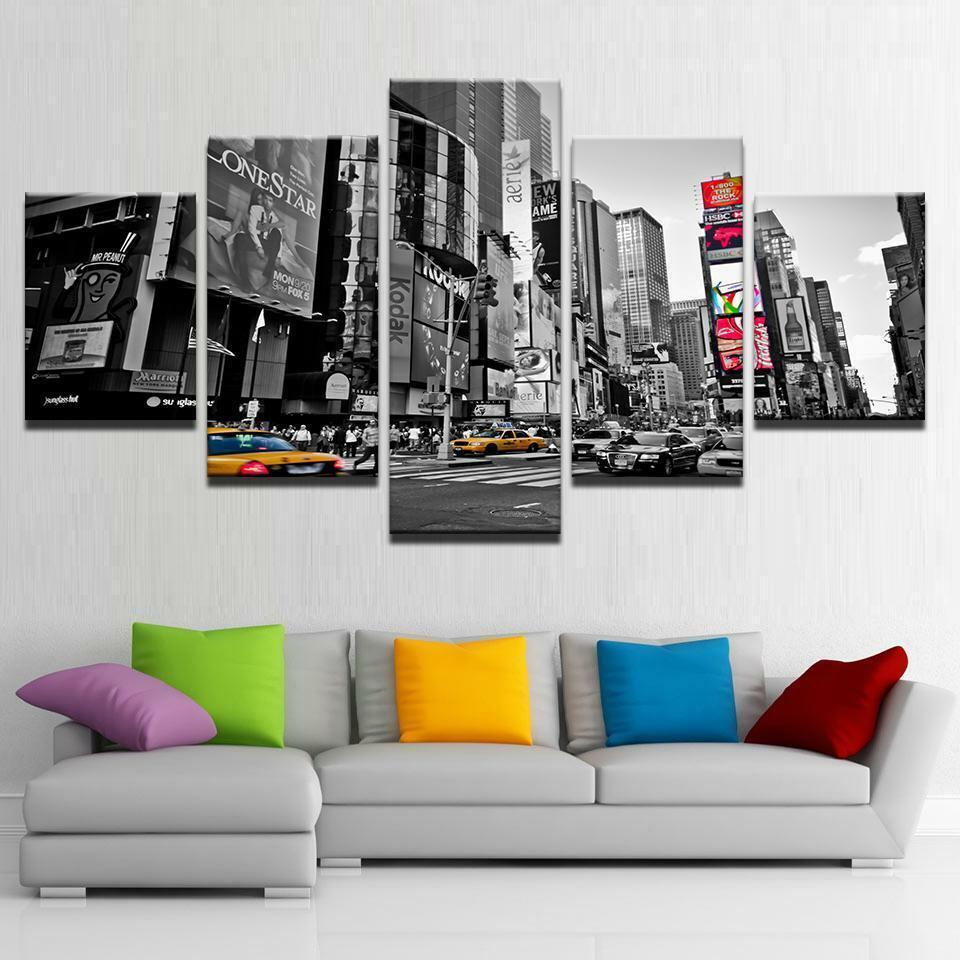 New York City Modern Dynamic Life 5 pieces Canvas Wall Poster Home Decor
