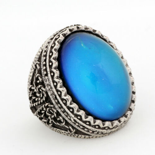 Womens Exaggerated Design Luxury Engraved Big Mood Stone  Antique Silver Ring