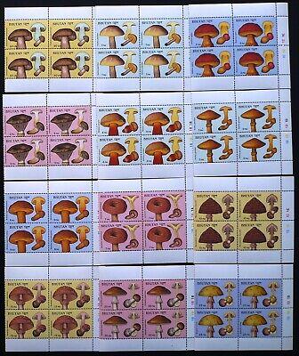 4 X Bhutan 1989 Mi. 1145-1156 ** Mnh 12 Werte Pilze Mushrooms