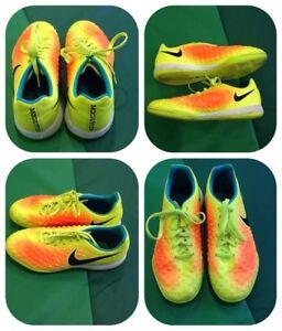 wähle echt schnelle Farbe außergewöhnliche Auswahl an Stilen und Farben Details zu Nike Fussballschuhe Neon Gelb Orange Blau Schnürsenkel Gr. 38,5  Top Zustand