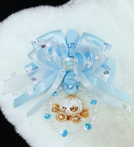 Stunning Hand Craft Baby Boy Blue Clip on Pram Charm Satin Bow White Carriage