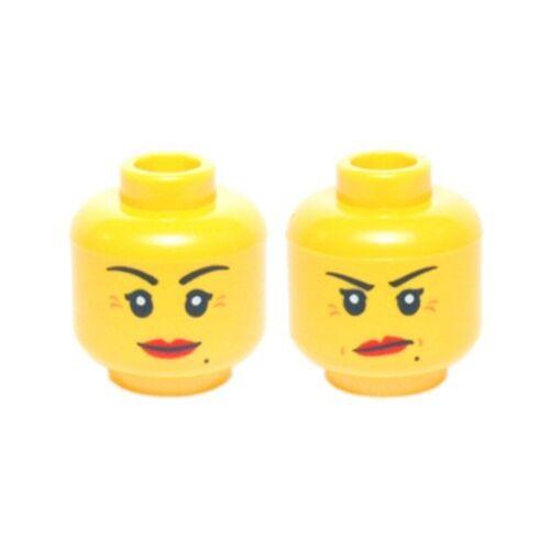 Smile // Annoyed Crow/'s Feet /& Beauty Mark Minifig LEGO Head Female Red Lips
