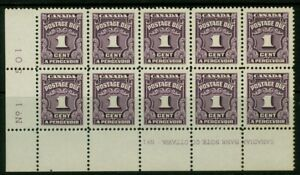 CANADA, 1c postage due LL plate block, VF / MNH, from 1935-65 set, J15