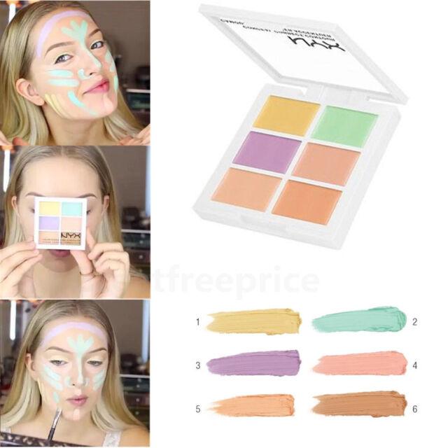 Face Makeup Cream Contour Kit Concealer Palette Bronzer Highlighter Set 6 Colors