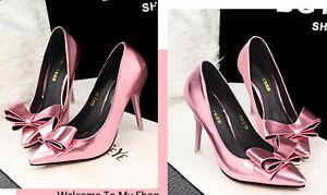 Decollte-Schuhe-Pumps-Frau-Stilett-Absatz-10-CM-Mode-Rosa-Poliert-8560