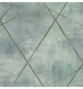 Wallpaper-Modern-Large-Metallic-Gray-Geometric-Lines-on-Green-Watercolor-Faux