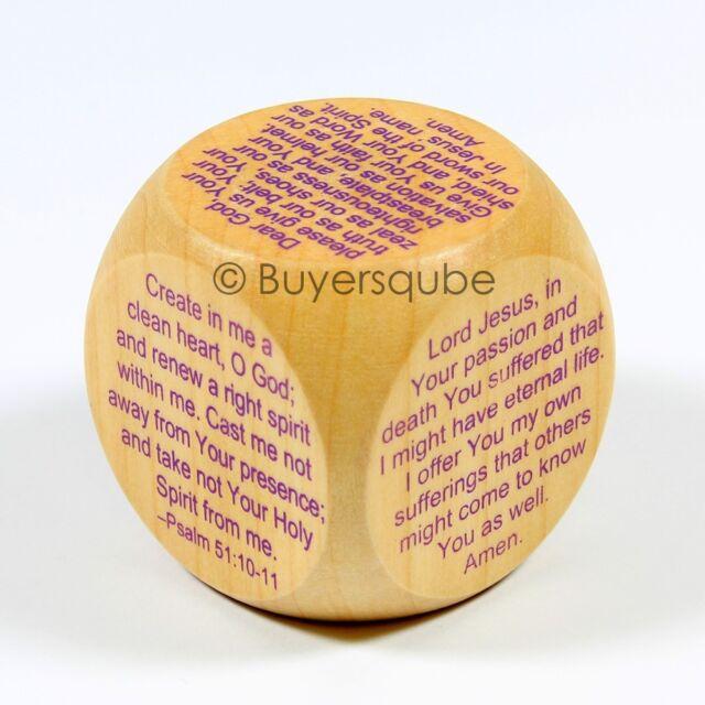 """Lenten Prayer Cube (6 Prayers) Religious Item 1 5/8"""" Prayers for Lent Psalms 51"""