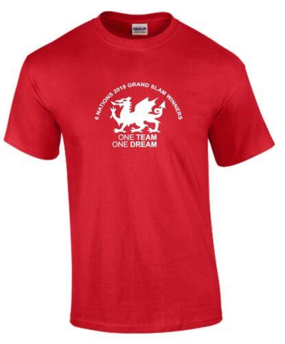 Une équipe un rêve au Pays de Galles Six Nations 2019 Grand Chelem gagnants Enfants Rugby T-Shirt