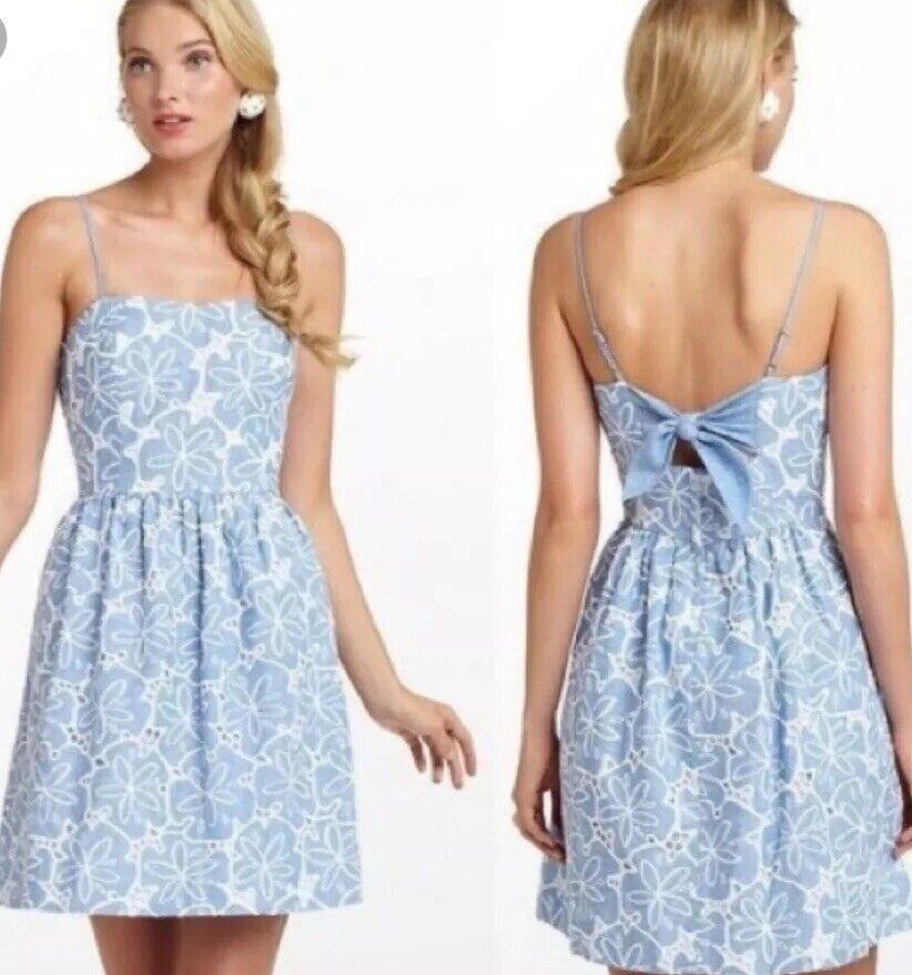 Lilly Pulitzer Linen Blau Weiß Floral Back Bow Spaghetti Strap Dress Sz 0