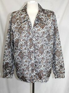 Ship N Shore 12 L Vintage 70 S Paisley Over Sized Collar