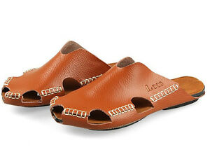 Image Is Loading Mens Gladiator Genuine Leather Beach Sandals Loafer Slides