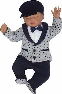 baby baumwolle jungen einteiler strampler gr 56 62 68 74 taufe festlich anzug ebay. Black Bedroom Furniture Sets. Home Design Ideas