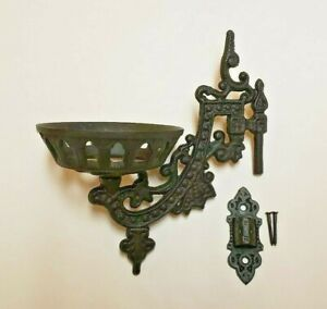 9-034-CAST-IRON-WALL-BRACKET-FOR-OIL-LAMP-EARLY-AMERICAN-VICTORIAN-STYLE-73805JB