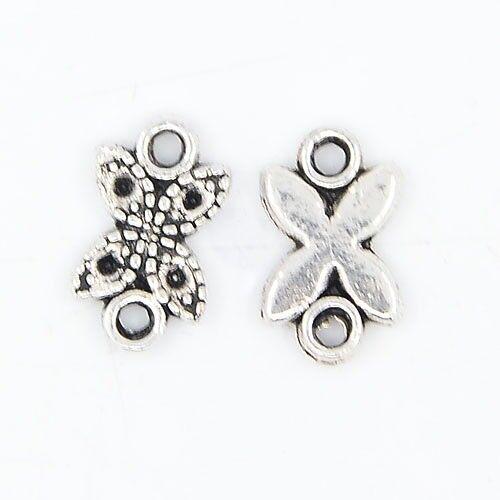LOT de 20 CONNECTEURS perles breloques PAPILLONS ARGENTE 11mm création bijoux