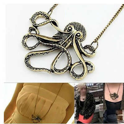 Womens Vintage Bronze Octopus Style Dress Sweater Chain Necklace Pendant Glamour