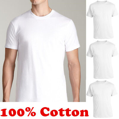 Lot of 12 Mens V-Neck T-Shirt Undershirt 100/% Cotton Plain Tee White S