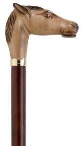 Collectable Nickel Silver Horse Head Walking Stick On Black Hardwood Formal Cane