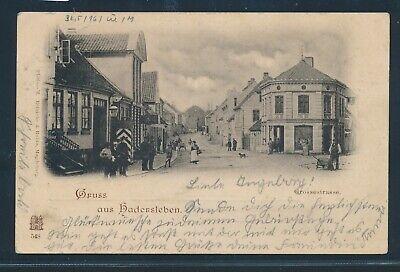 KüHn 34993) Ak Gruss Aus Hadersleben Grossestrasse 1910 + Bahnpost Apenrade