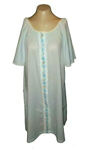 Vintage 1970s Night Gown, Movie Star, Poly-Cotton Blue Button-Front Cool S