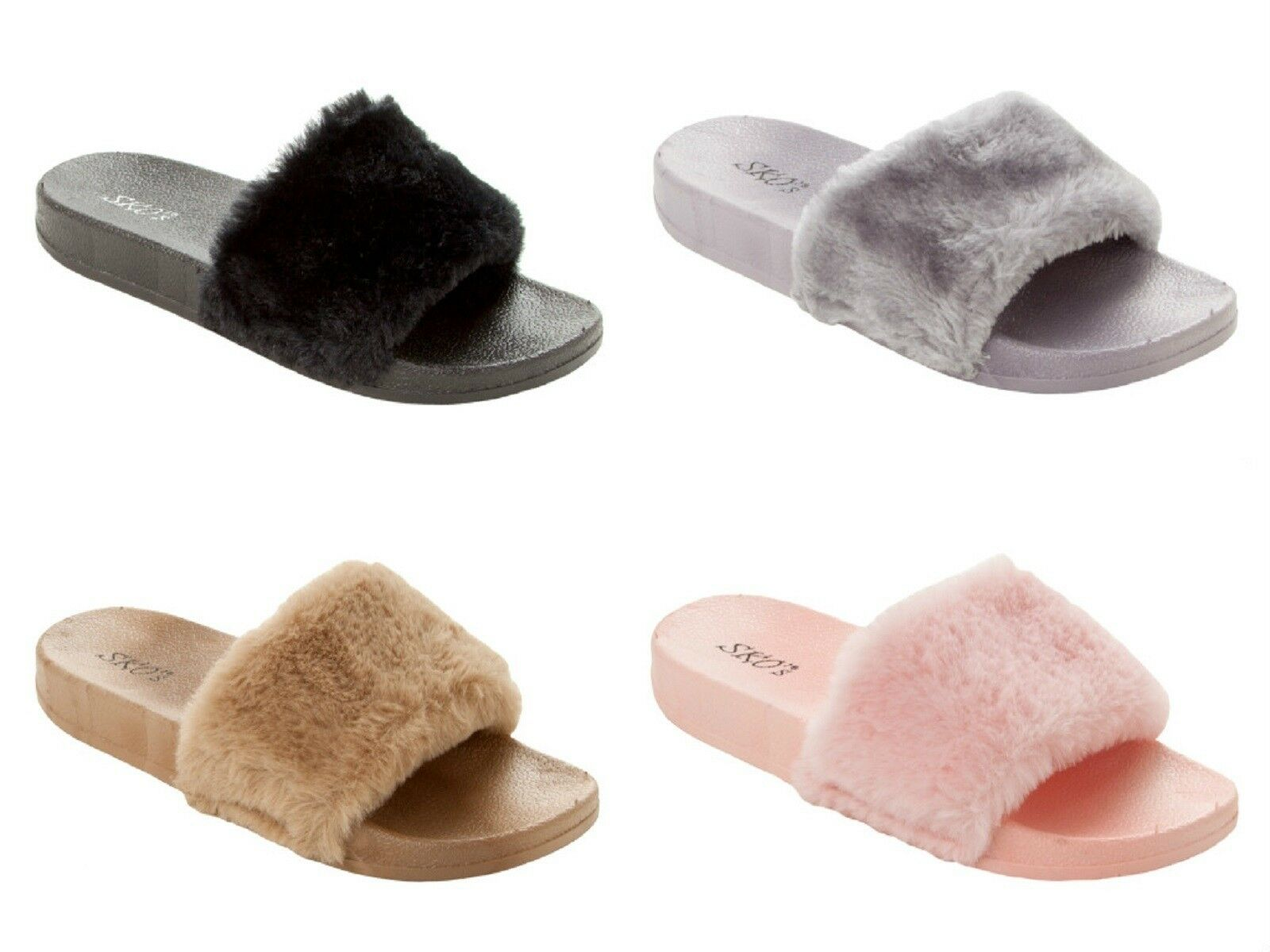 LADIES SANDALS FAUX FUR SUMMER BEACH HOLIDAY SLIDERS Mujer SANDALS LADIES Zapatos SLIPPER SZ 3-8 053837
