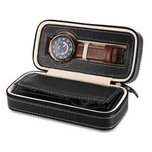 Estuche 2 Relojes Caja Acolchada Cuero PU Boitier 2 Montres Voyage Watch Box 1