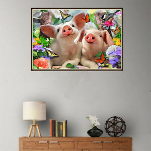 5D-DIY-diamond-embroidery-cartoon-two-pig-diamond-painting-Cross-Stitch-decor-MW