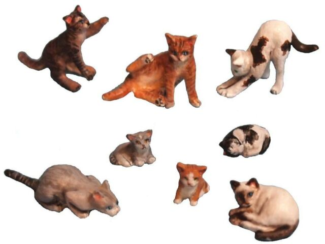 Aurora Model 1/35 figures Cats Set #2 1/32 Animal metal kit, 8 cats ML-051