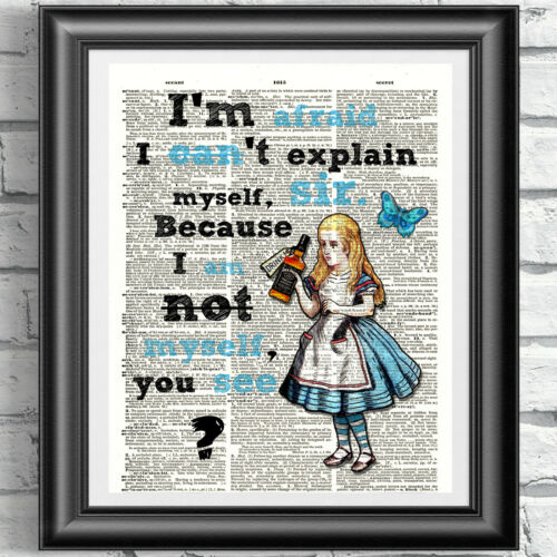 ART PRINT ON ORIGINAL ANTIQUE BOOK PAGE Tipsy Alice in Wonderland Dictionary