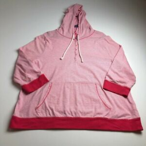 Old-Navy-Women-s-Long-Sleeve-Hoodie-Sweater-XXL-2XL-Pink-White-Stripes-Pullover
