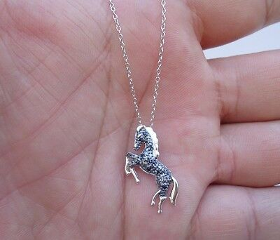 925 STERLING SILVER DESIGNERS HORSE  PENDANT NECKLACE W/ BLACK DIAMONDS/ 18''