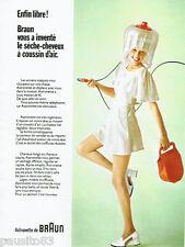 PUBLICITE ADVERTISING 115  1972  le séche- cheveux à coussin d'air Braun