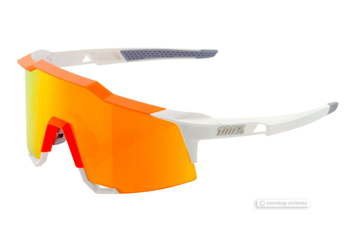 100% SPEEDCRAFT Cycling UV Sunglasses WHITE orange HiPER RED MULTI