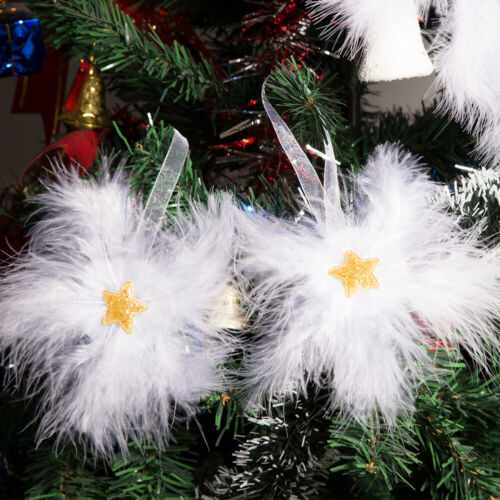 2020 Hot White Feather Star Bauble Hanging Christmas Tree Ornament Decoration