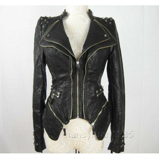 New Womens Punk Spike Studded Shoulder PU Leather Zipper coat Size S-XL