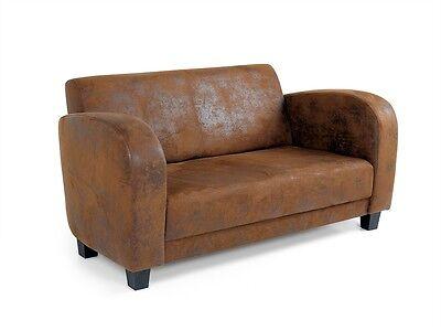 ANTO 2er-Sofa pflegeleicht Couch Western-Wildlederoptik vintage Gobi braun