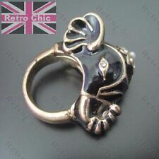 BIG ELEPHANT RING rhinestone BLACK ENAMEL CRYSTAL vintage gold pltd INDIAN HEAD